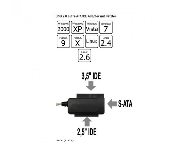 USB 2.0 > IDE SATA Adapteri Varastossa 17.89 eur