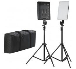 Quadralite Thea 450 LED Kit (Valot, Studiojalustat ja kantolaukku)